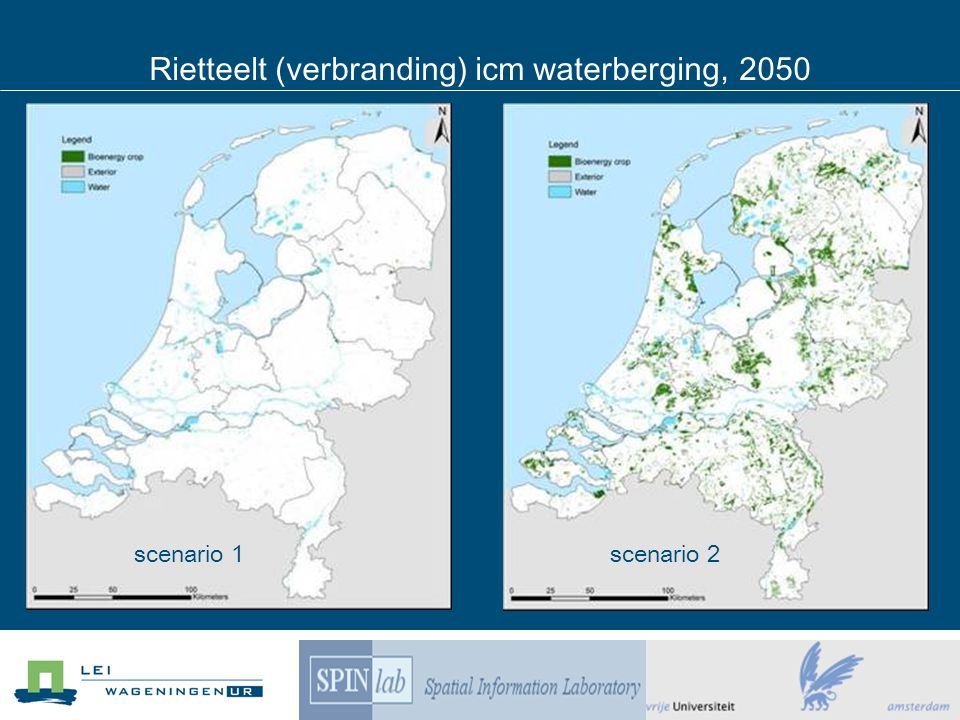 scenario 1scenario 2 Rietteelt (verbranding) icm waterberging, 2050