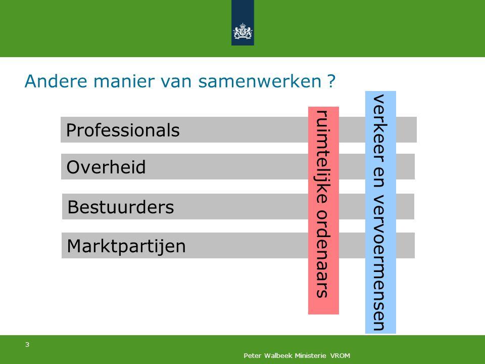 3 Peter Walbeek Ministerie VROM Andere manier van samenwerken ? Overheid Professionals Marktpartijen Bestuurders ruimtelijke ordenaars verkeer en verv