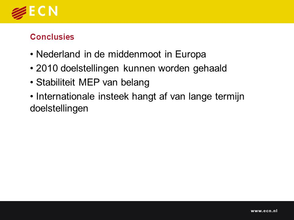 Conclusies Nederland in de middenmoot in Europa 2010 doelstellingen kunnen worden gehaald Stabiliteit MEP van belang Internationale insteek hangt af van lange termijn doelstellingen