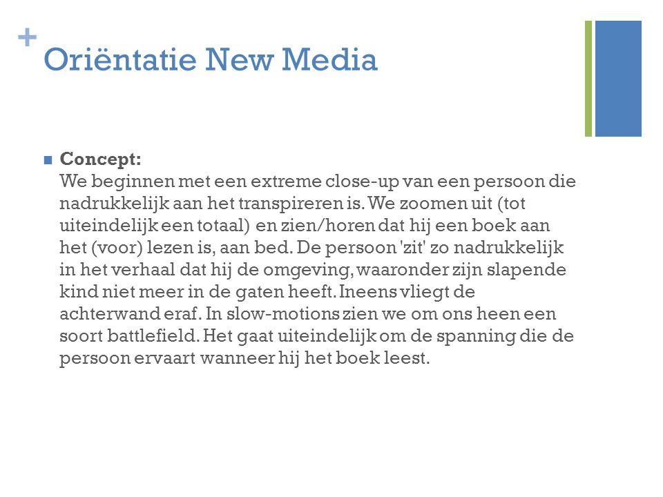 + Oriëntatie New Media Concept: We beginnen met een extreme close-up van een persoon die nadrukkelijk aan het transpireren is.