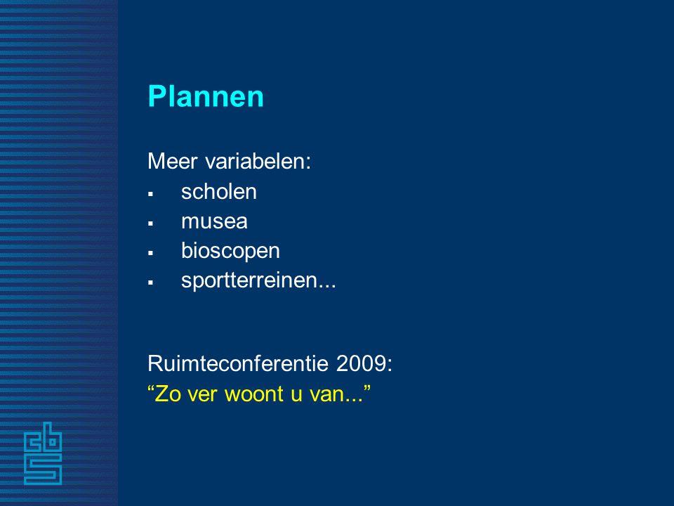 """Plannen Meer variabelen:  scholen  musea  bioscopen  sportterreinen... Ruimteconferentie 2009: """"Zo ver woont u van..."""""""