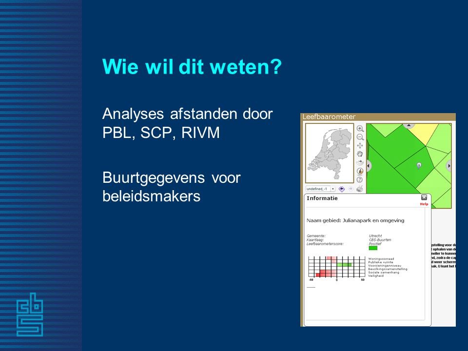 Wie wil dit weten? Analyses afstanden door PBL, SCP, RIVM Buurtgegevens voor beleidsmakers
