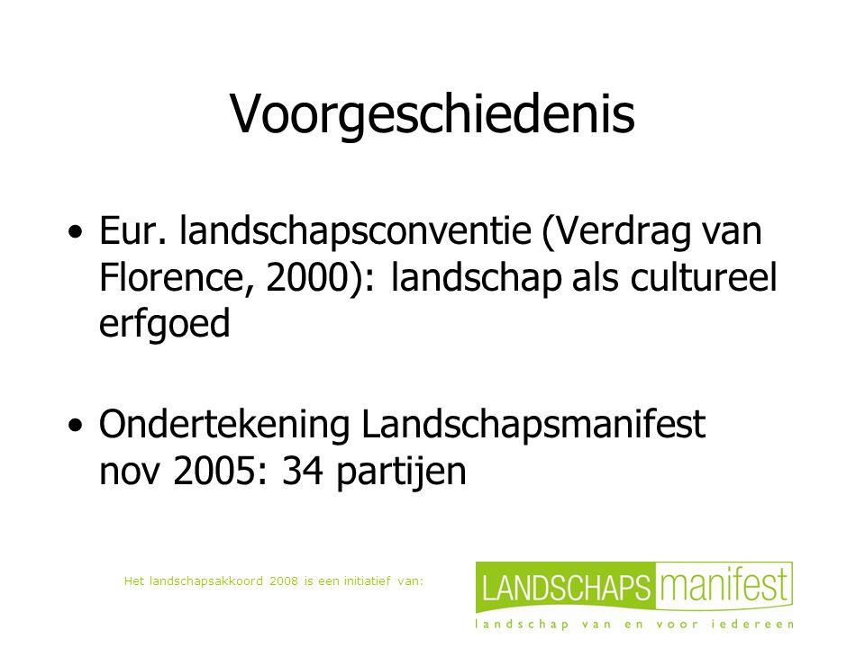 Het landschapsakkoord 2008 is een initiatief van: Voorgeschiedenis Eur. landschapsconventie (Verdrag van Florence, 2000): landschap als cultureel erfg