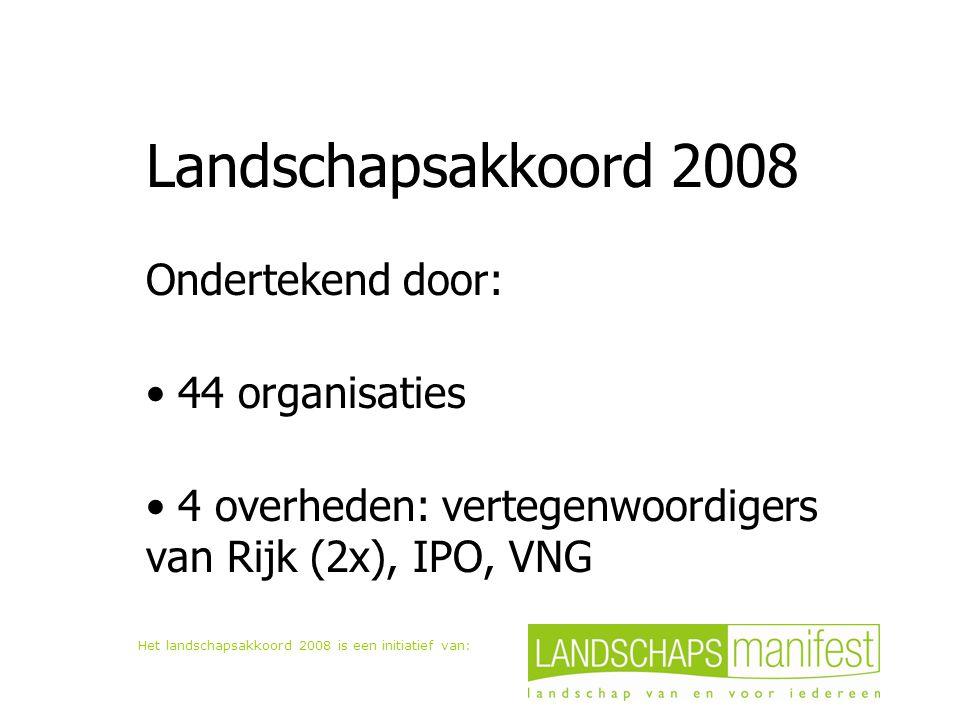 Het landschapsakkoord 2008 is een initiatief van: Landschapsakkoord 2008 Ondertekend door: 44 organisaties 4 overheden: vertegenwoordigers van Rijk (2x), IPO, VNG