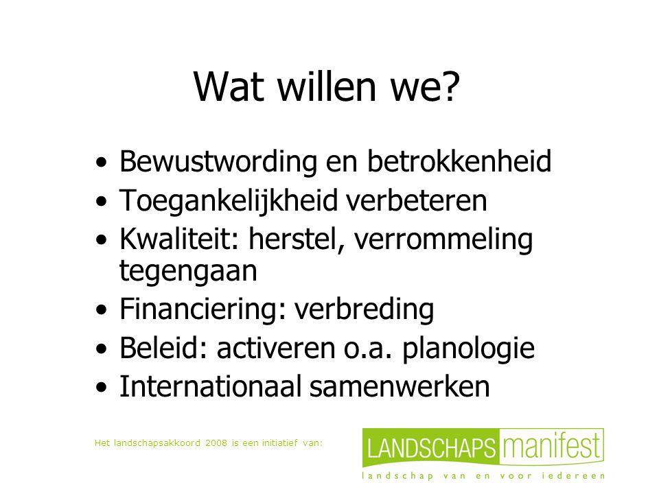 Het landschapsakkoord 2008 is een initiatief van: Wat willen we? Bewustwording en betrokkenheid Toegankelijkheid verbeteren Kwaliteit: herstel, verrom