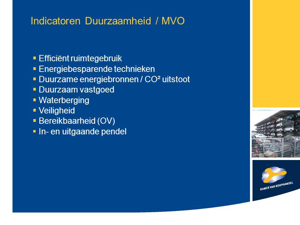 Indicatoren Duurzaamheid / MVO  Efficiënt ruimtegebruik  Energiebesparende technieken  Duurzame energiebronnen / CO² uitstoot  Duurzaam vastgoed  Waterberging  Veiligheid  Bereikbaarheid (OV)  In- en uitgaande pendel