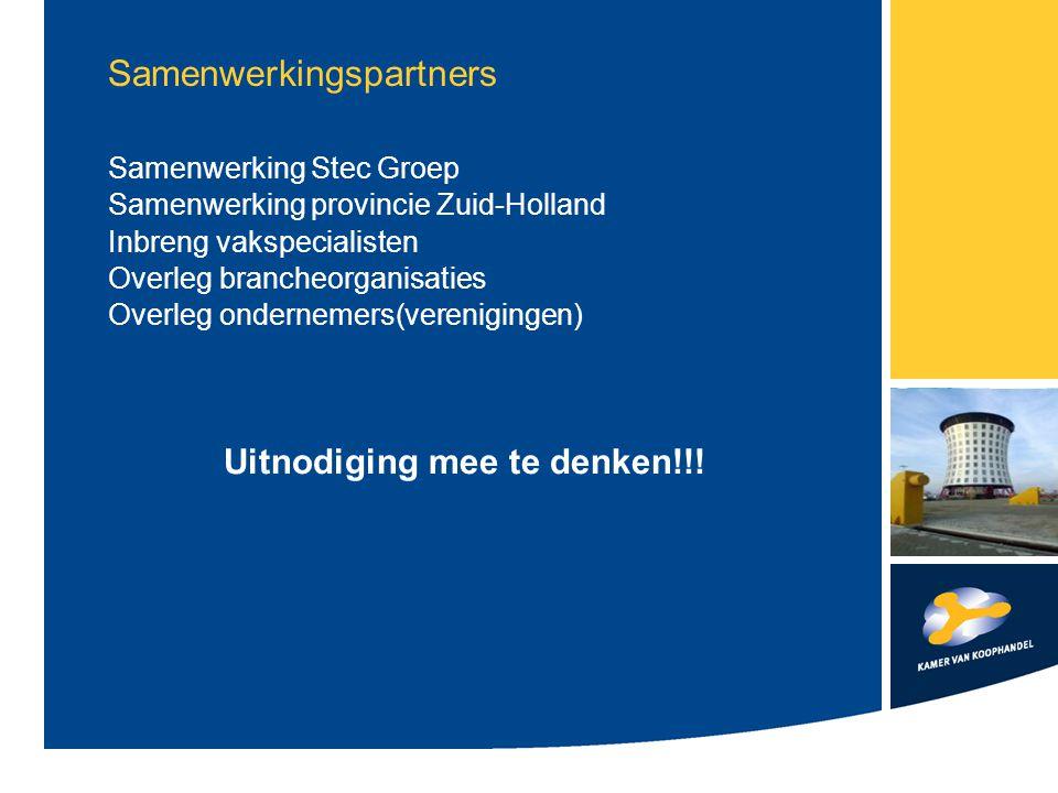 Samenwerkingspartners Samenwerking Stec Groep Samenwerking provincie Zuid-Holland Inbreng vakspecialisten Overleg brancheorganisaties Overleg ondernem