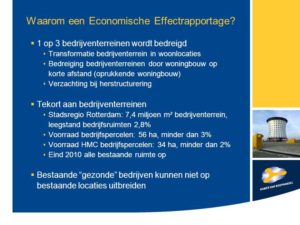 Waarom een Economische Effectrapportage?  1 op 3 bedrijventerreinen wordt bedreigd Transformatie bedrijventerrein in woonlocaties Bedreiging bedrijve