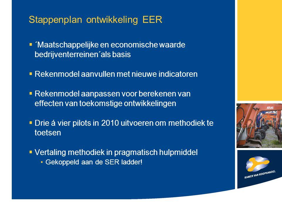 Stappenplan ontwikkeling EER  ´Maatschappelijke en economische waarde bedrijventerreinen´als basis  Rekenmodel aanvullen met nieuwe indicatoren  Re
