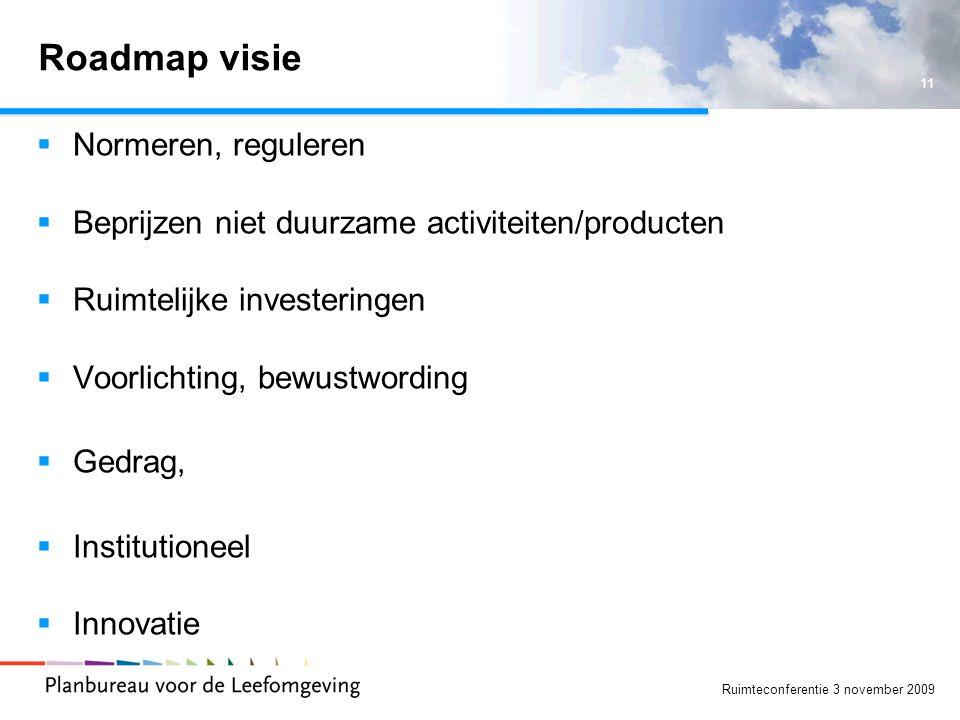 11 Ruimteconferentie 3 november 2009 Roadmap visie  Normeren, reguleren  Beprijzen niet duurzame activiteiten/producten  Ruimtelijke investeringen