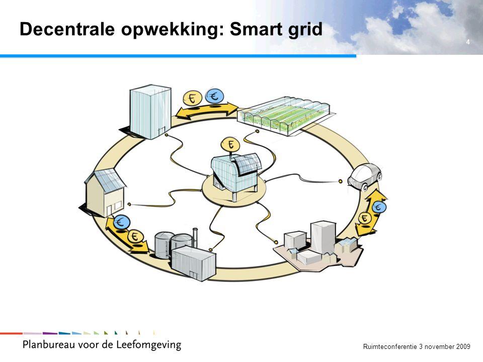 4 Ruimteconferentie 3 november 2009 Decentrale opwekking: Smart grid