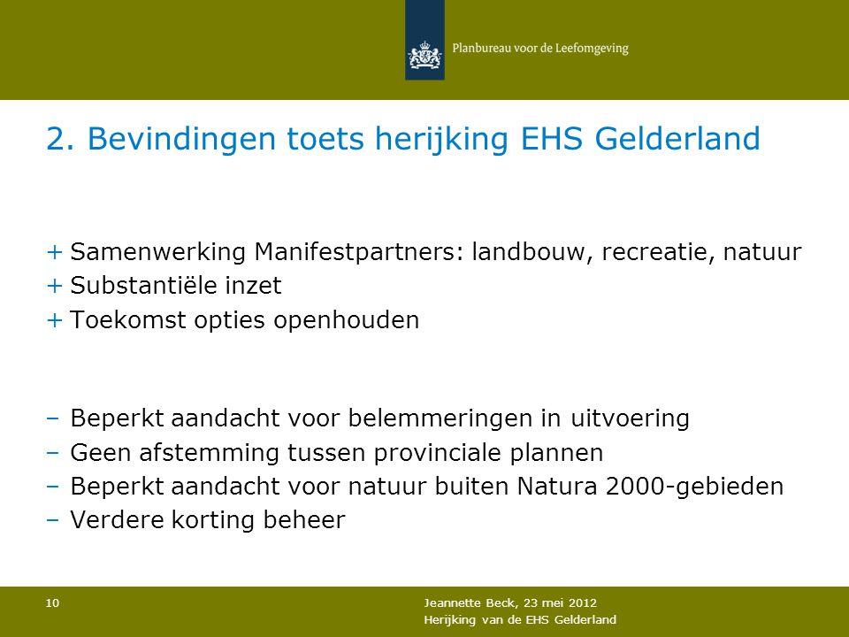 2. Bevindingen toets herijking EHS Gelderland +Samenwerking Manifestpartners: landbouw, recreatie, natuur +Substantiële inzet +Toekomst opties openhou