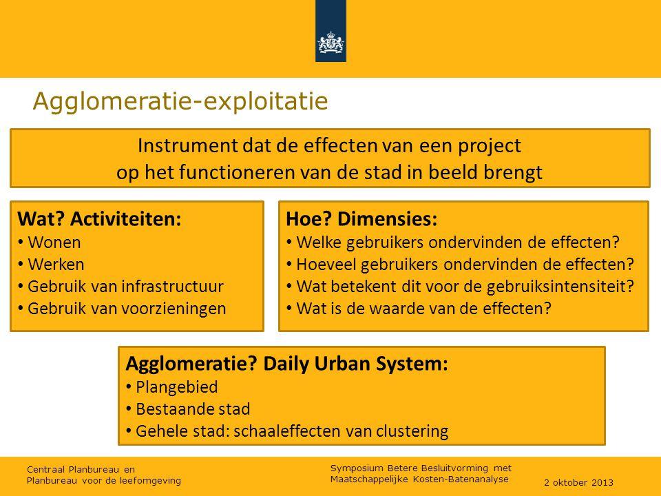 Centraal Planbureau en Planbureau voor de leefomgeving Agglomeratie-exploitatie Instrument dat de effecten van een project op het functioneren van de stad in beeld brengt Wat.
