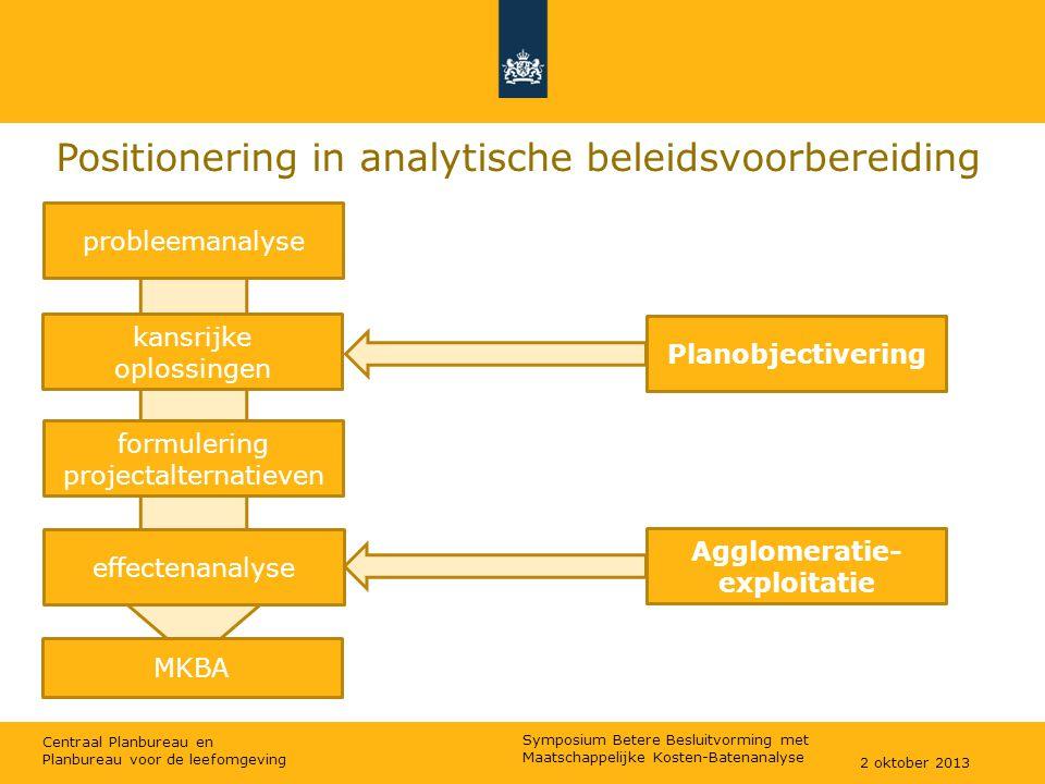 Centraal Planbureau en Planbureau voor de leefomgeving Positionering in analytische beleidsvoorbereiding probleemanalyse effectenanalyse kansrijke opl