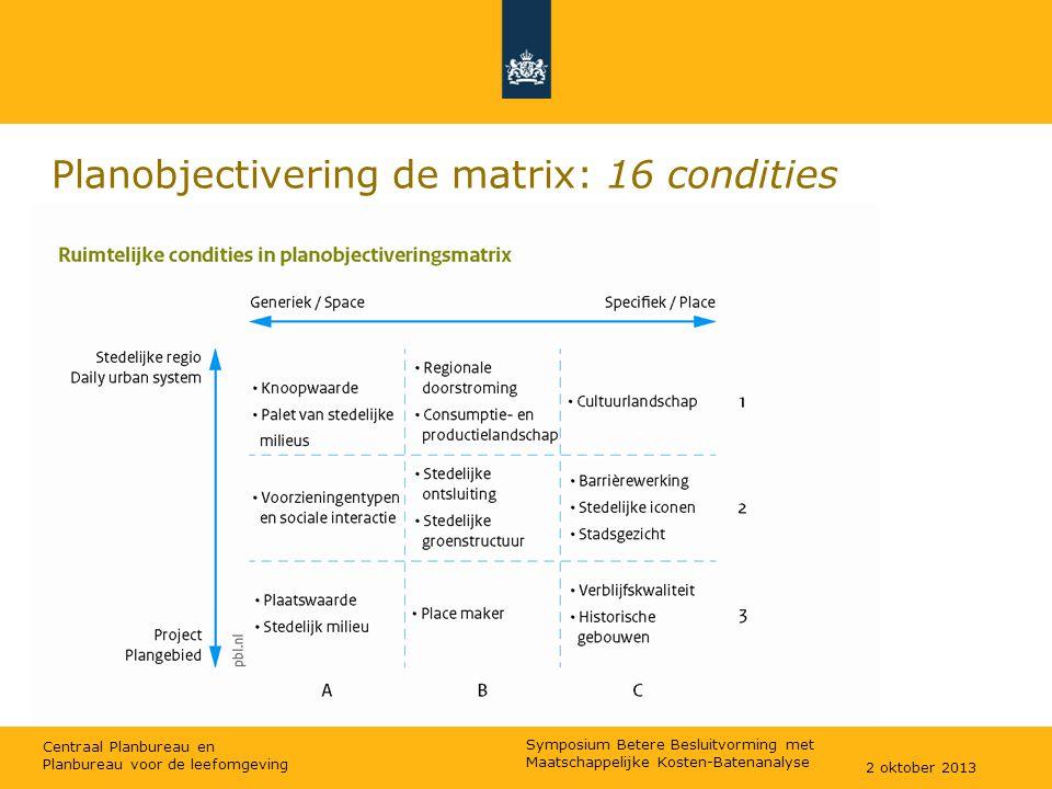 Centraal Planbureau en Planbureau voor de leefomgeving Planobjectivering de matrix: 16 condities 2 oktober 2013 Symposium Betere Besluitvorming met Ma