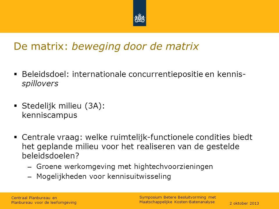 Centraal Planbureau en Planbureau voor de leefomgeving De matrix: beweging door de matrix  Beleidsdoel: internationale concurrentiepositie en kennis-