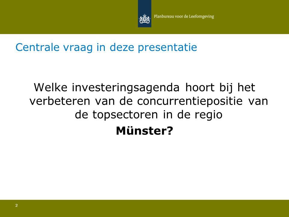 Centrale vraag in deze presentatie 2 Welke investeringsagenda hoort bij het verbeteren van de concurrentiepositie van de topsectoren in de regio Münster?