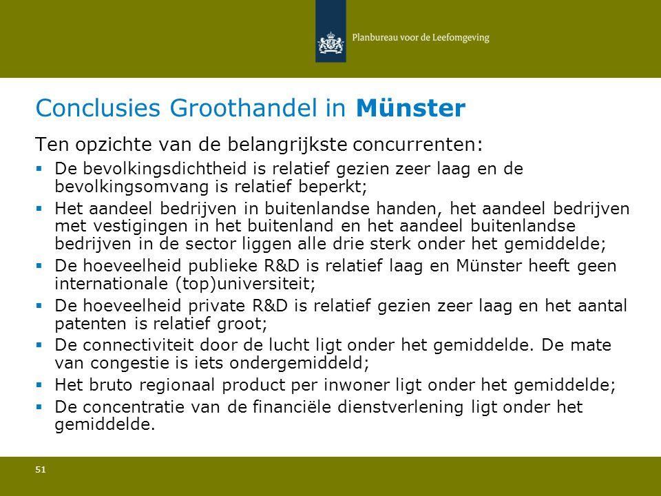 Conclusies Groothandel in Münster 51 Ten opzichte van de belangrijkste concurrenten:  De bevolkingsdichtheid is relatief gezien zeer laag en de bevolkingsomvang is relatief beperkt; Het aandeel bedrijven in buitenlandse handen, het aandeel bedrijven met vestigingen in het buitenland en het aandeel buitenlandse bedrijven in de sector liggen alle drie sterk onder het gemiddelde; De hoeveelheid publieke R&D is relatief laag en Münster heeft geen internationale (top)universiteit; De hoeveelheid private R&D is relatief gezien zeer laag en het aantal patenten is relatief groot; De connectiviteit door de lucht ligt onder het gemiddelde.