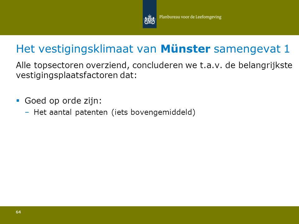 Het vestigingsklimaat van Münster samengevat 1 64 Alle topsectoren overziend, concluderen we t.a.v.