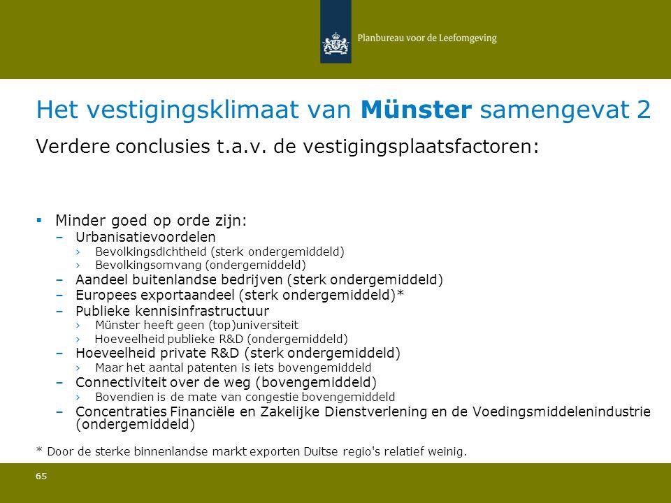 Het vestigingsklimaat van Münster samengevat 2 65 Verdere conclusies t.a.v.