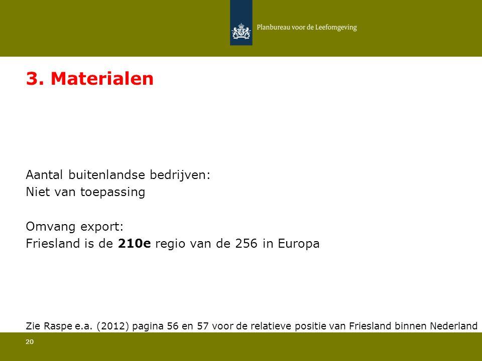 Aantal buitenlandse bedrijven: Niet van toepassing 20 3. Materialen Omvang export: Friesland is de 210e regio van de 256 in Europa Zie Raspe e.a. (201