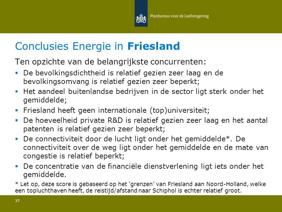 Conclusies Energie in Friesland 37 Ten opzichte van de belangrijkste concurrenten:  De bevolkingsdichtheid is relatief gezien zeer laag en de bevolki
