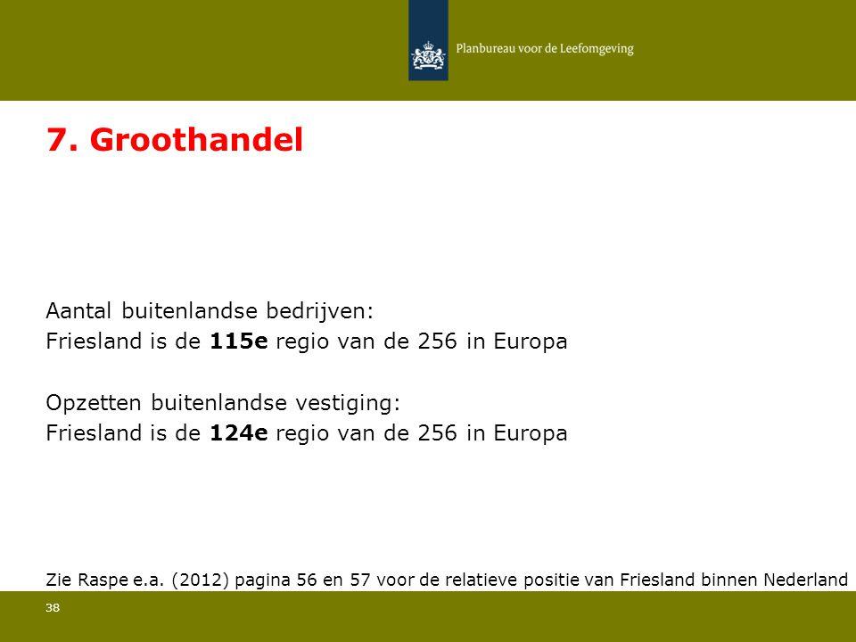 Aantal buitenlandse bedrijven: Friesland is de 115e regio van de 256 in Europa 38 7. Groothandel Opzetten buitenlandse vestiging: Friesland is de 124e