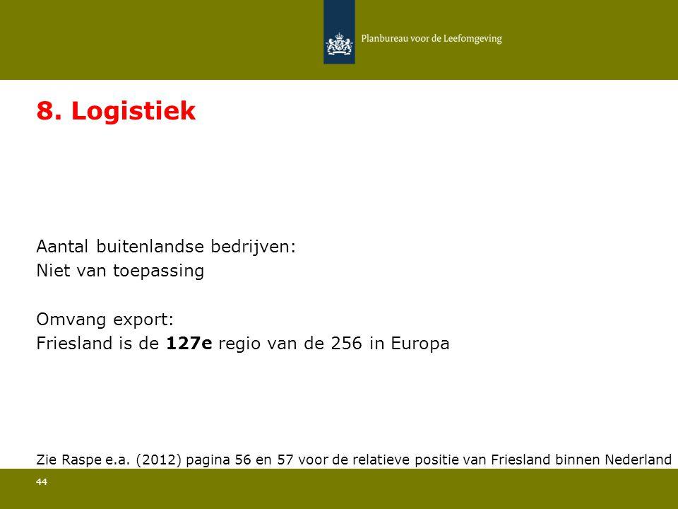 Aantal buitenlandse bedrijven: Niet van toepassing 44 8. Logistiek Omvang export: Friesland is de 127e regio van de 256 in Europa Zie Raspe e.a. (2012