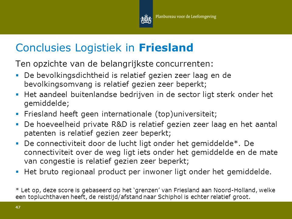 Conclusies Logistiek in Friesland 47 Ten opzichte van de belangrijkste concurrenten:  De bevolkingsdichtheid is relatief gezien zeer laag en de bevol