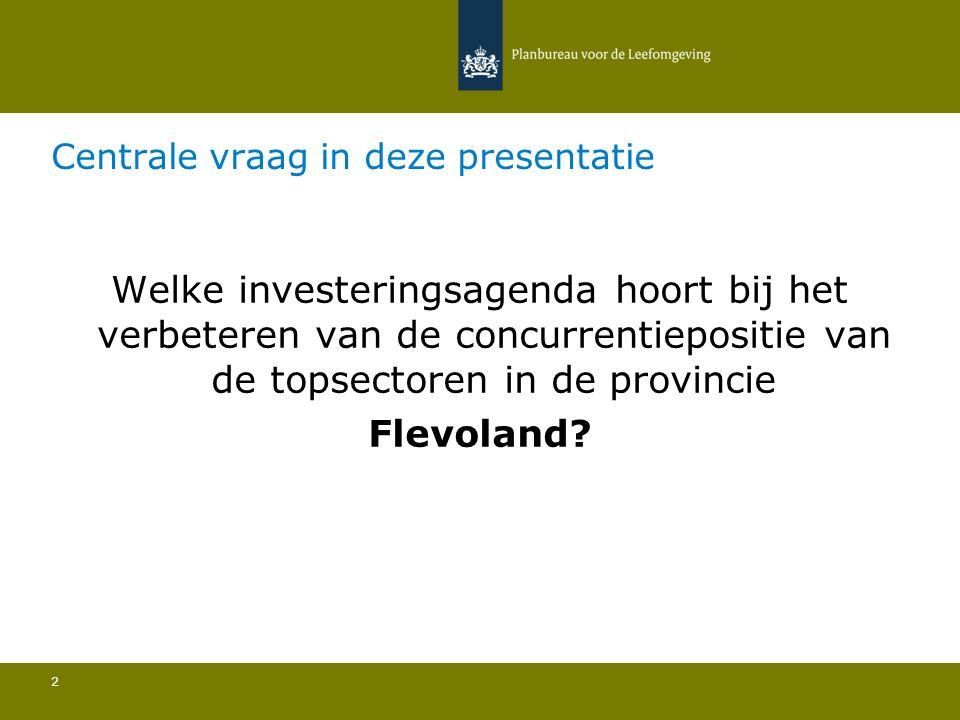 Centrale vraag in deze presentatie 2 Welke investeringsagenda hoort bij het verbeteren van de concurrentiepositie van de topsectoren in de provincie Flevoland