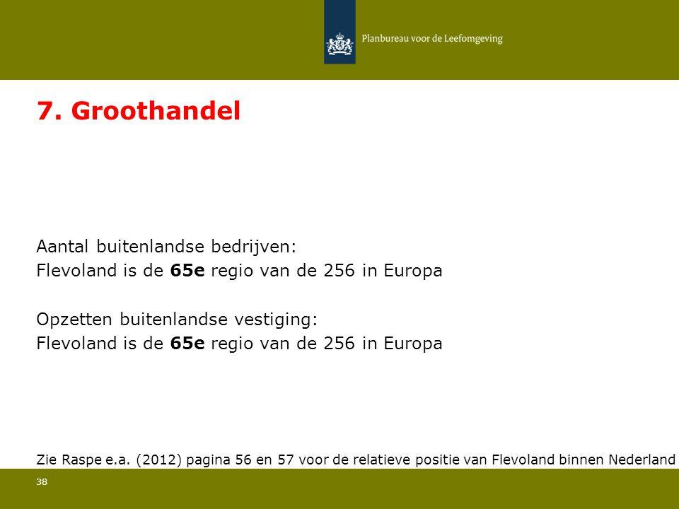 Aantal buitenlandse bedrijven: Flevoland is de 65e regio van de 256 in Europa 38 7.