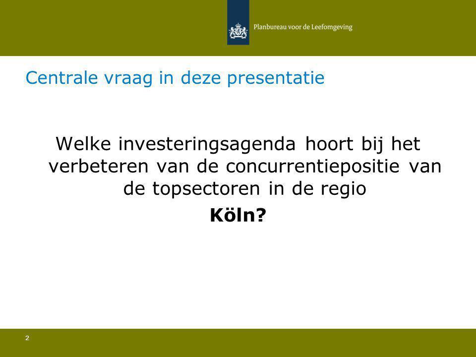 Centrale vraag in deze presentatie 2 Welke investeringsagenda hoort bij het verbeteren van de concurrentiepositie van de topsectoren in de regio Köln?