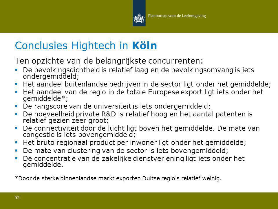 Conclusies Hightech in Köln 33 Ten opzichte van de belangrijkste concurrenten:  De bevolkingsdichtheid is relatief laag en de bevolkingsomvang is iet