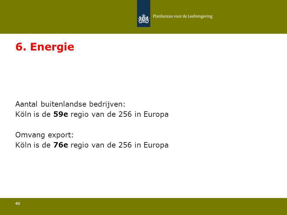Aantal buitenlandse bedrijven: Köln is de 59e regio van de 256 in Europa 40 6. Energie Omvang export: Köln is de 76e regio van de 256 in Europa