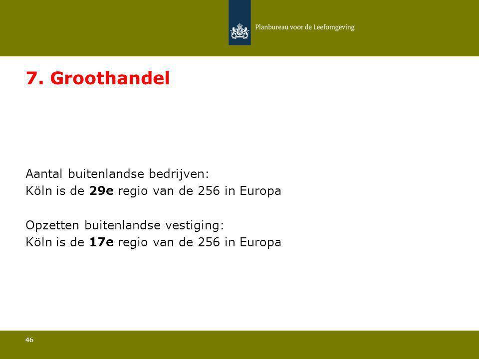 Aantal buitenlandse bedrijven: Köln is de 29e regio van de 256 in Europa 46 7. Groothandel Opzetten buitenlandse vestiging: Köln is de 17e regio van d