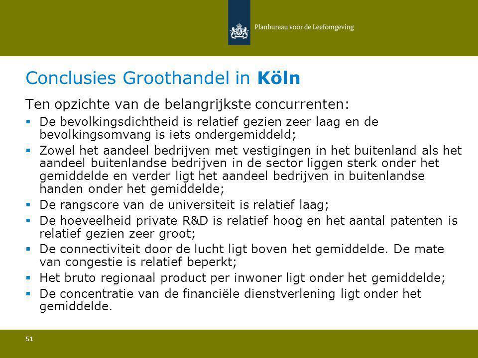 Conclusies Groothandel in Köln 51 Ten opzichte van de belangrijkste concurrenten:  De bevolkingsdichtheid is relatief gezien zeer laag en de bevolkin