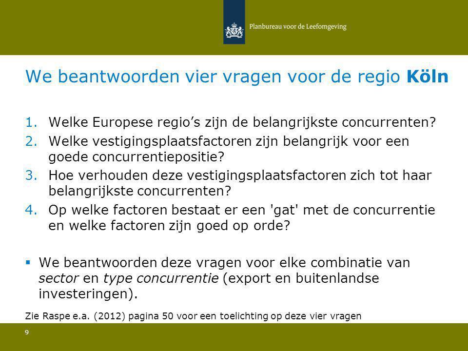 We beantwoorden vier vragen voor de regio Köln 9 1.Welke Europese regio's zijn de belangrijkste concurrenten? 2.Welke vestigingsplaatsfactoren zijn be