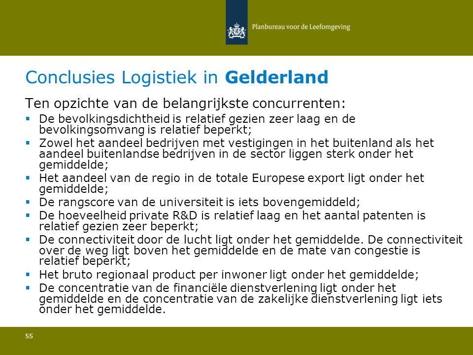 Conclusies Logistiek in Gelderland 55 Ten opzichte van de belangrijkste concurrenten:  De bevolkingsdichtheid is relatief gezien zeer laag en de bevolkingsomvang is relatief beperkt; Zowel het aandeel bedrijven met vestigingen in het buitenland als het aandeel buitenlandse bedrijven in de sector liggen sterk onder het gemiddelde; Het aandeel van de regio in de totale Europese export ligt onder het gemiddelde; De rangscore van de universiteit is iets bovengemiddeld; De hoeveelheid private R&D is relatief laag en het aantal patenten is relatief gezien zeer beperkt; De connectiviteit door de lucht ligt onder het gemiddelde.