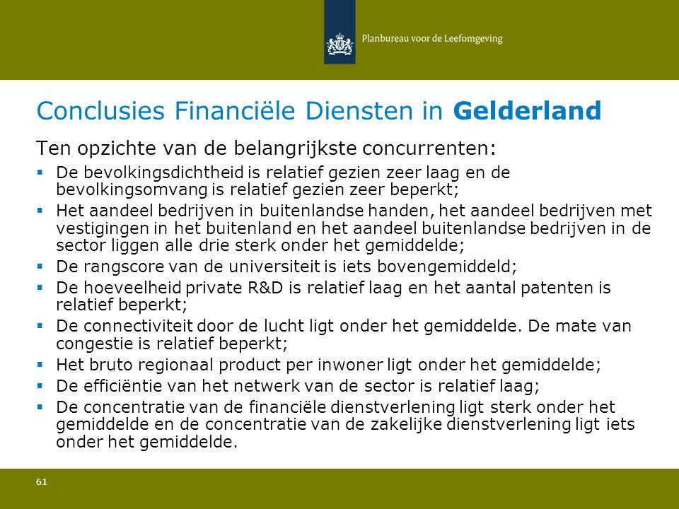 Conclusies Financiële Diensten in Gelderland 61 Ten opzichte van de belangrijkste concurrenten:  De bevolkingsdichtheid is relatief gezien zeer laag en de bevolkingsomvang is relatief gezien zeer beperkt; Het aandeel bedrijven in buitenlandse handen, het aandeel bedrijven met vestigingen in het buitenland en het aandeel buitenlandse bedrijven in de sector liggen alle drie sterk onder het gemiddelde; De rangscore van de universiteit is iets bovengemiddeld; De hoeveelheid private R&D is relatief laag en het aantal patenten is relatief beperkt; De connectiviteit door de lucht ligt onder het gemiddelde.