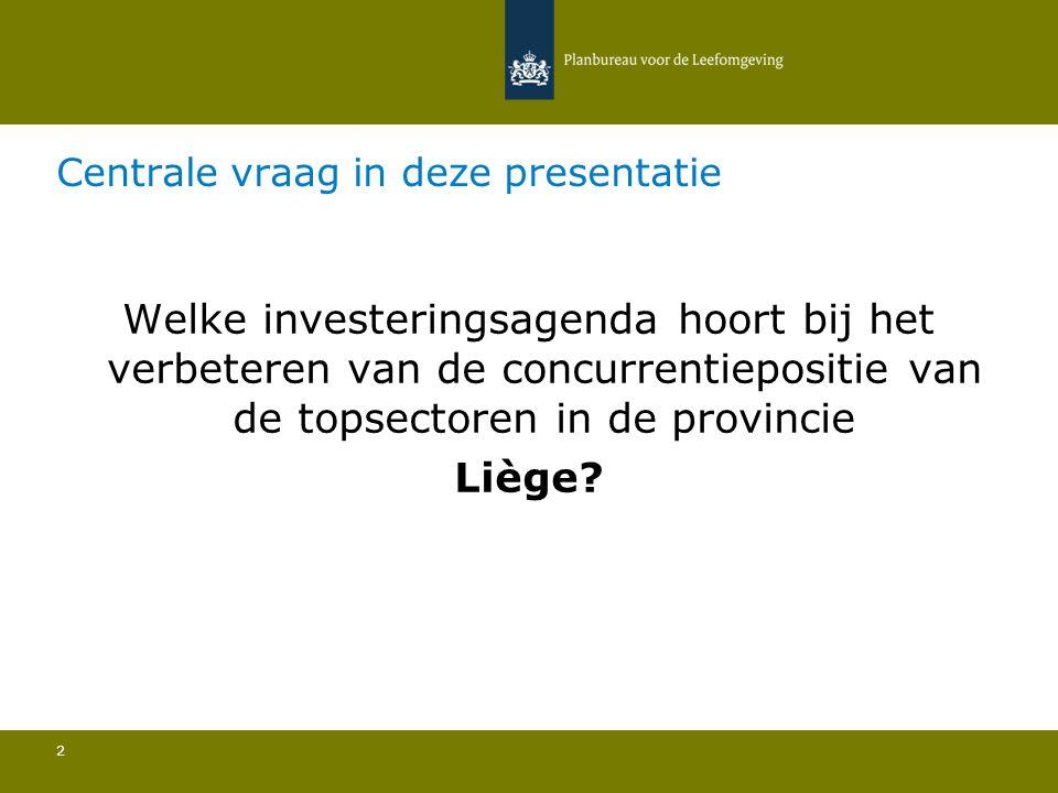 Centrale vraag in deze presentatie 2 Welke investeringsagenda hoort bij het verbeteren van de concurrentiepositie van de topsectoren in de provincie Liège?