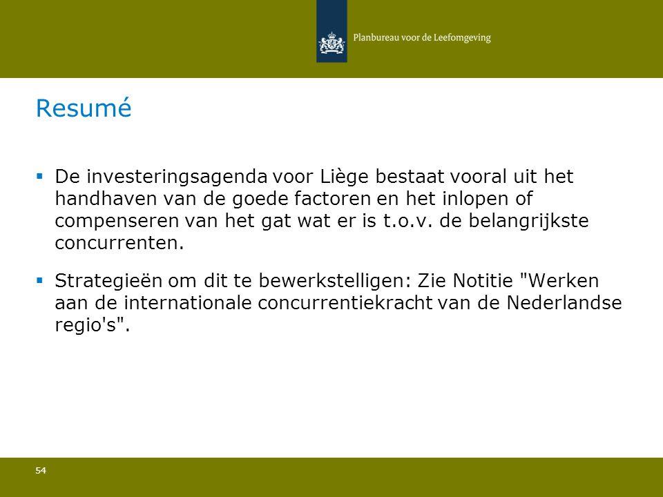  De investeringsagenda voor Liège bestaat vooral uit het handhaven van de goede factoren en het inlopen of compenseren van het gat wat er is t.o.v. d