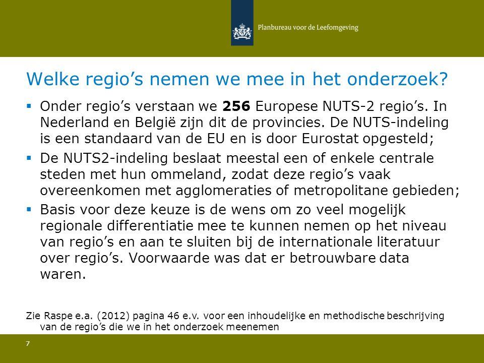 Welke regio's nemen we mee in het onderzoek? 7  Onder regio's verstaan we 256 Europese NUTS-2 regio's. In Nederland en België zijn dit de provincies.