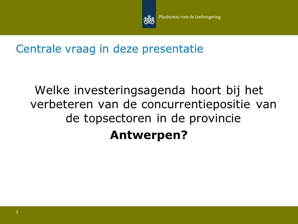 Centrale vraag in deze presentatie 2 Welke investeringsagenda hoort bij het verbeteren van de concurrentiepositie van de topsectoren in de provincie Antwerpen?