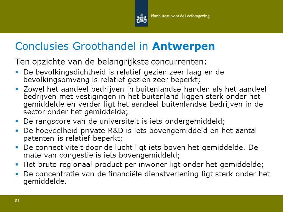 Conclusies Groothandel in Antwerpen 51 Ten opzichte van de belangrijkste concurrenten:  De bevolkingsdichtheid is relatief gezien zeer laag en de bevolkingsomvang is relatief gezien zeer beperkt; Zowel het aandeel bedrijven in buitenlandse handen als het aandeel bedrijven met vestigingen in het buitenland liggen sterk onder het gemiddelde en verder ligt het aandeel buitenlandse bedrijven in de sector onder het gemiddelde; De rangscore van de universiteit is iets ondergemiddeld; De hoeveelheid private R&D is iets bovengemiddeld en het aantal patenten is relatief beperkt; De connectiviteit door de lucht ligt iets boven het gemiddelde.