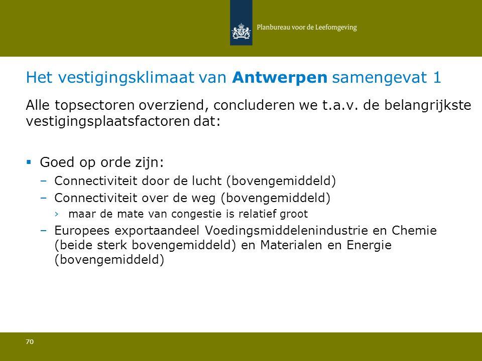 Het vestigingsklimaat van Antwerpen samengevat 1 70 Alle topsectoren overziend, concluderen we t.a.v. de belangrijkste vestigingsplaatsfactoren dat: 