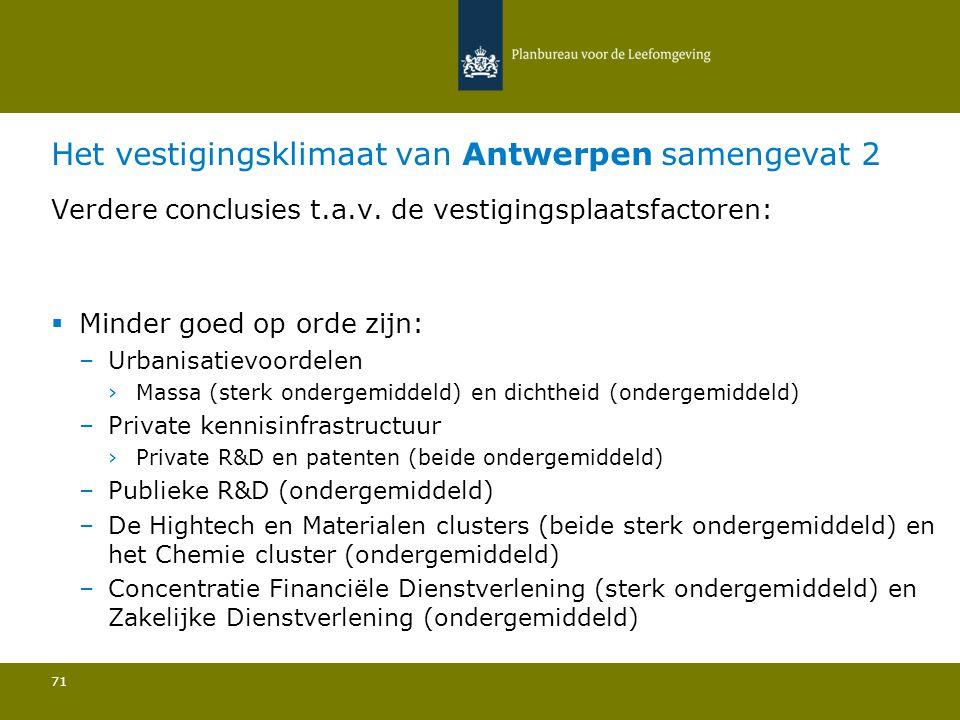 Het vestigingsklimaat van Antwerpen samengevat 2 71 Verdere conclusies t.a.v. de vestigingsplaatsfactoren:  Minder goed op orde zijn: –Urbanisatievoo