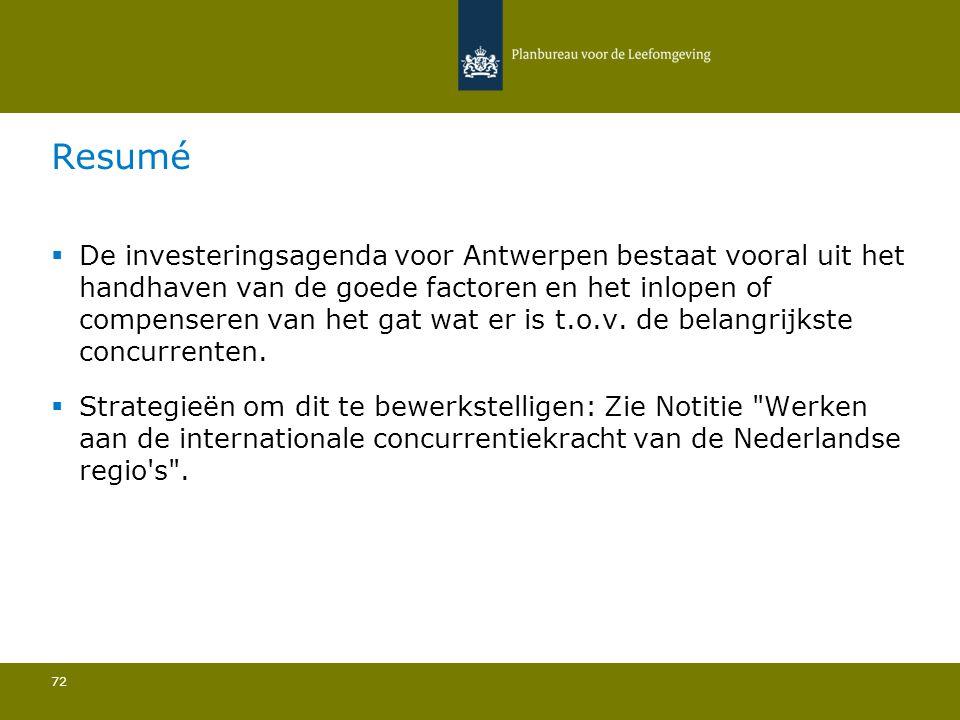  De investeringsagenda voor Antwerpen bestaat vooral uit het handhaven van de goede factoren en het inlopen of compenseren van het gat wat er is t.o.v.
