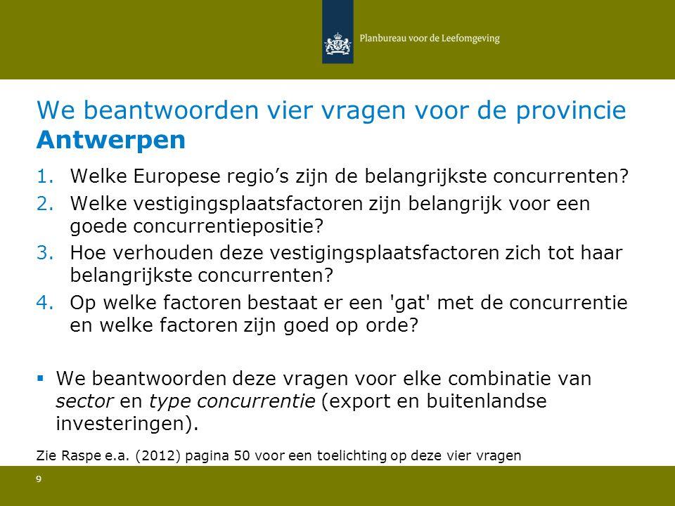 We beantwoorden vier vragen voor de provincie Antwerpen 9 1.Welke Europese regio's zijn de belangrijkste concurrenten? 2.Welke vestigingsplaatsfactore