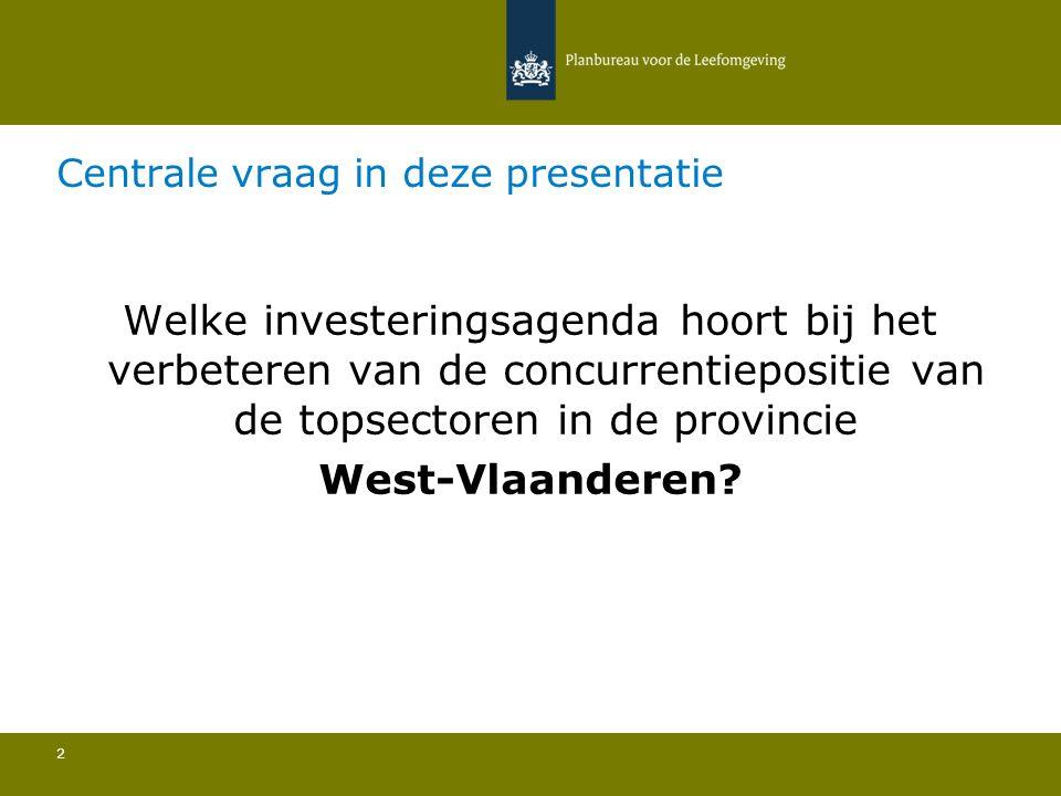 Centrale vraag in deze presentatie 2 Welke investeringsagenda hoort bij het verbeteren van de concurrentiepositie van de topsectoren in de provincie W