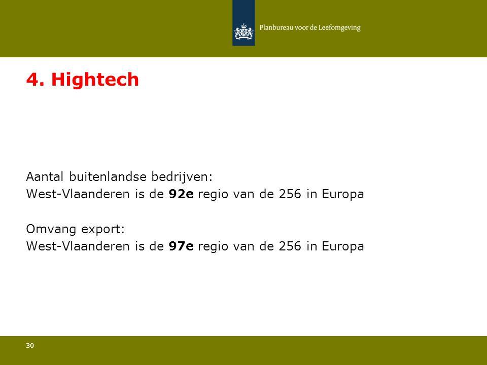 Aantal buitenlandse bedrijven: West-Vlaanderen is de 92e regio van de 256 in Europa 30 4. Hightech Omvang export: West-Vlaanderen is de 97e regio van